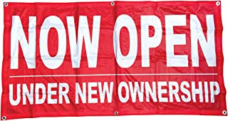 4Less 2x4 Ft Now Open Under New Ownership Banner Vinyl Alternative Sign rb, Fabric