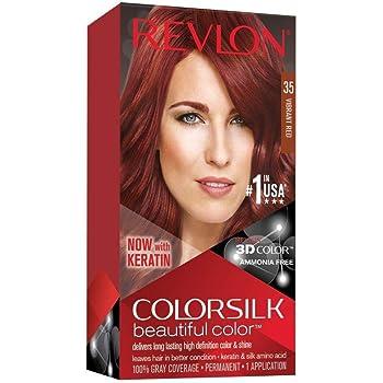 Revlon Colorsilk Beautiful Color, Permanent Hair Dye with Keratin, 100% Gray Coverage, Ammonia Free, 35 Vibrant Red