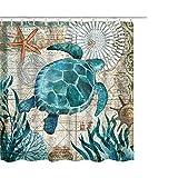 Litthing Duschvorhang Blauer Ozean Muster Top Qualität Wasserdicht, Anti-Schimmel-Effekt 3D Digitaldruck inkl. 12 Duschvorhangringe für Badezimmer 180x180cm (Meeresflora & -Fauna)