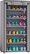 Aysis 6 Layer Multipurpose Portable Folding Shoes Rack/Shoes Shelf/Shoes Cabinet with Iron and Nonwoven Fabric with Zippered Dustproof Cover Color Grey