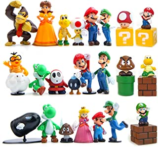 PantShop Super Mario Action Figures – Mario Brothers Toys – Mario Bros Figurines – Set of 23 Mario PVC Toy Figures for Kids & Adults – Premium Cake Toppers – Detailed Design – Multiple Characters