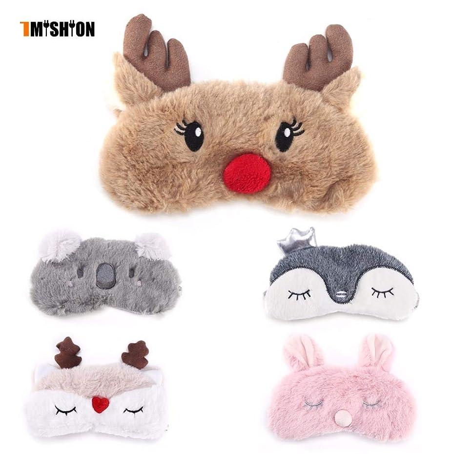 原点伝染病持続的注スリープマスクかわいい動物のアイカバーマスクアイパッチ包帯目隠しクリスマス鹿冬漫画昼寝アイシェードぬいぐるみ睡眠マスク