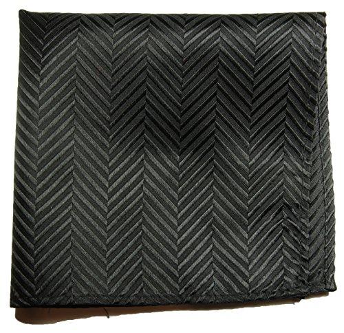 Paul Malone de carré de poche mouchoir 100% soie Noir uni