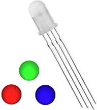 Waycreat 100 pcs 5mm Diffused RGB LED Emitting Diode Super Bright Electronics Components Light Emitting Diodes Tricolor(Multicolor Red Green Blue 4 pin Common Cathode DC 20mA/Color)
