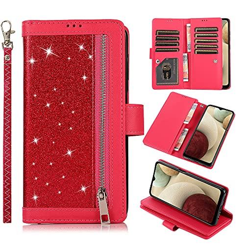 QC-EMART - Funda tipo cartera para Samsung Galaxy A20 y A30 (piel sintética, con cierre magnético), color rojo