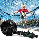 Toyvian Trampolin Sprinkler für Kinder, Wassersprinkler Spaß Sommer Outdoor Wasserspielzeug für Jungen Mädchen, Fun Park Spiel Games Yard Sprinkler (39,3 Fuß, Schwarz)