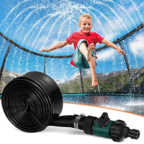 Toyvian Trampolín aspersor para niños, aspersor de agua, diversión verano al aire libre, juguete acuático para niños y niñas, divertido parque, juego de aspersor (90 m, negro)