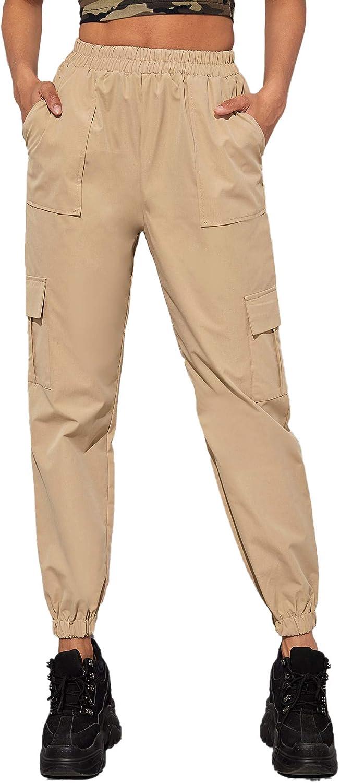 Milumia Women Casual Elastic Mid Waist Long Pant Cargo Pants with Pocket