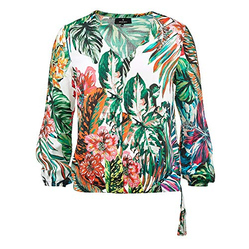 Monari 405207 101 Damen modische Bluse mit floralem Muster und Gummizug im Saum, Groesse 40, weiß/grün/türkis/Gemustert