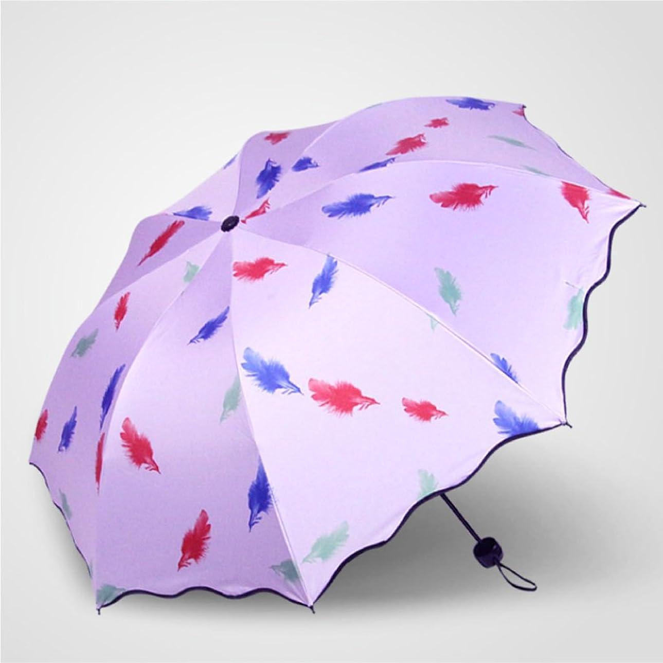 人類外観カバーロータスレース黒プラスチック羽毛プリント日焼け止めUV雨と雨傘 ズトイビー (Color : #6)
