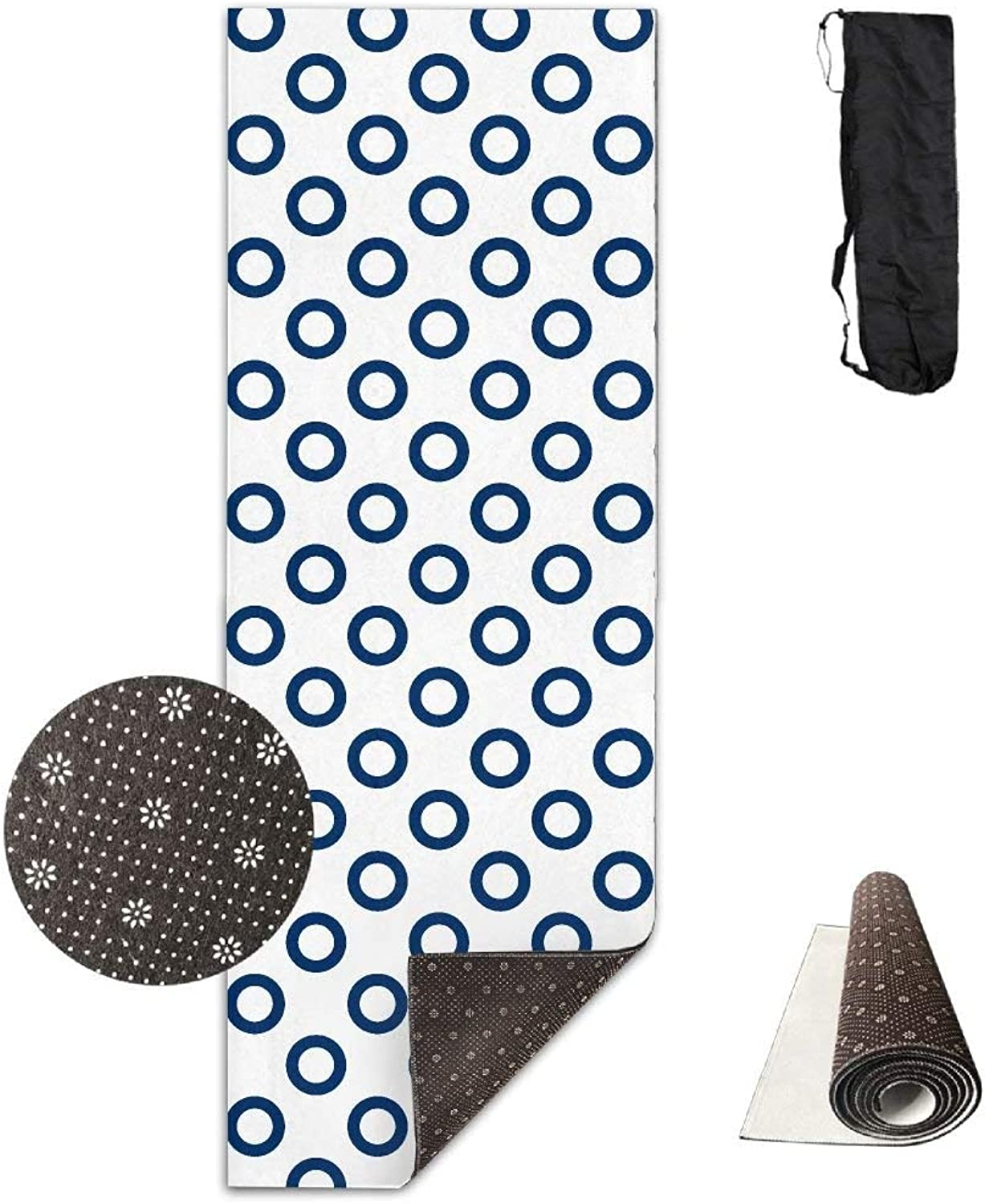 Navy Dot Pattern Yoga Mat Towel for Bikram Hot Yoga, Yoga and Pilates, Paddle Board Yoga, Sports, Exercise, Fitness Towel