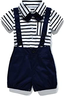 46b86d2e1 FERENYI Baby Boy's Bowtie Gentleman Romper Jumpsuit Overalls Stripe Rompers  Sets