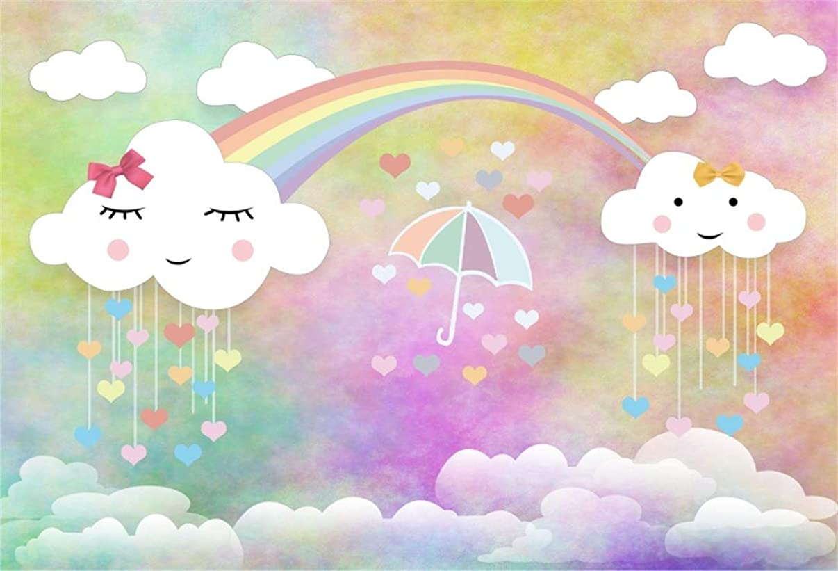Yeele 10x8ft Photography Background Sweet Sky Cute Clouds Cartoon Rainbow Love Hearted Raindrop Umbrella Birthday Party Decoration Baby Kid Infant Banner Vinyl Photo Booth Backdrop Wallpaper