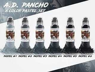 A.D. Pancho Pastel Grey 6 Bottle Set - World Famous Tattoo Ink - 1oz.