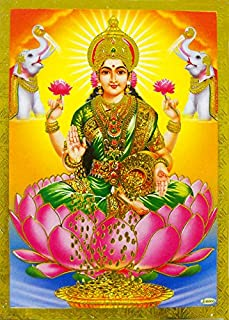 Goddess Laxmi Poster/ Reprint Hindu Goddess Picture with Golden Foil (Unframed : Size 5