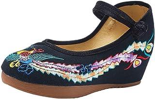 IOSHAPO Chinese stijl Bloemen Geborduurde schoenen Comfortabel Gesp Wijnoogst Sandalen