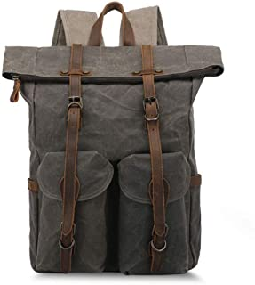 Rjj Backpack Men's Canvas Bag Outdoor Travel Schoolbag Anti-Theft Computer Backpack Waterproof Mountaineering Bag 30 * 20 * H47CM Exquisite (Color : Green)