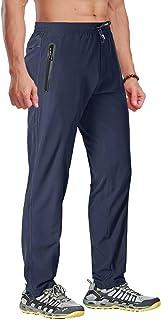 BIYLACLESEN Men's Running Pants Lightweight Quick Dry Hiking Jogger Sweatpants Zipper Pockets