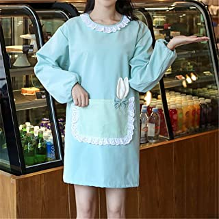 YXDZ Couple Apron European Fashion Kitchen Bread Pizza Shop Gown Adult Long Sleeve Waterproof Cute Men Anti-Dressing Female Green
