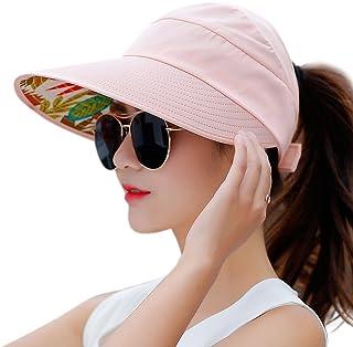 f7544dec5da HINDAWI Sun Hats Women Wide Brim UV Protection Summer Beach Packable Visor