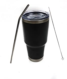 30oz Tumbler Stainless Steel Double Wall, With Spill proof Lid, Straw and Straw cleaner, Cold or Hot Beverage, Home, Offic...
