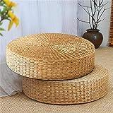 EDK 40x7.5cm Straw Weaving Round Pouf Tatami Cushion Floor Cushions Yoga Round Mat