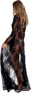 Women Sexy Long Lace Dress Sheer Gown See Through Lingerie Kimono Robe Swimsuit Cover Up
