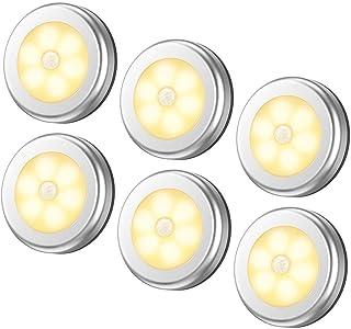 6 Packs Motion Sensor Light, Cordless Battery-Powered LED Night Lights for Hallway Bathroom Bedroom Kitchen, Closet Lights...
