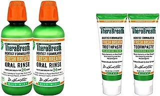 TheraBreath Fresh Breath Oral Rinse, Mild Mint, 16 Ounce Bottle (Pack of 2) and TheraBreath Fresh Breath To...