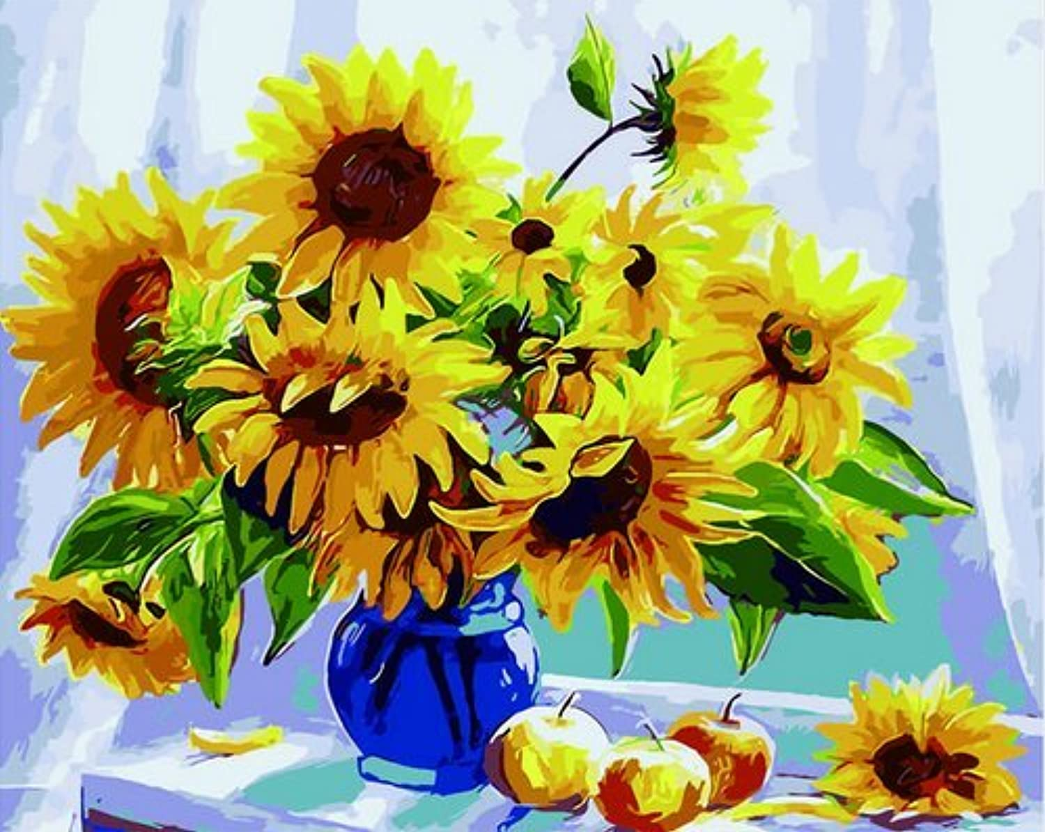 DIY Oil Painting, Paint by Number Kits -Yellow Sunflower Flower, 16X20 Inch