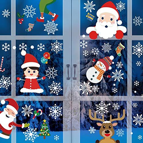 Schneeflocken Fensterdeko, SANBLOGAN Fensteraufkleber Weihnachten, Fensterfolie Weihnachten, Weihnachtsdeko Selbsthaftend Fensteraufkleber PVC Selbstklebend für Weihnachten Türen Schaufenster Vitrinen