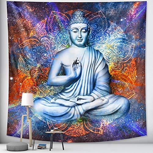 KHKJ Escena de meditación de Buda Indio Arte del hogar Tapiz Decorativo Hippie Bohemio Decorativo Mandala Hoja sofá Manta A3 95x73cm