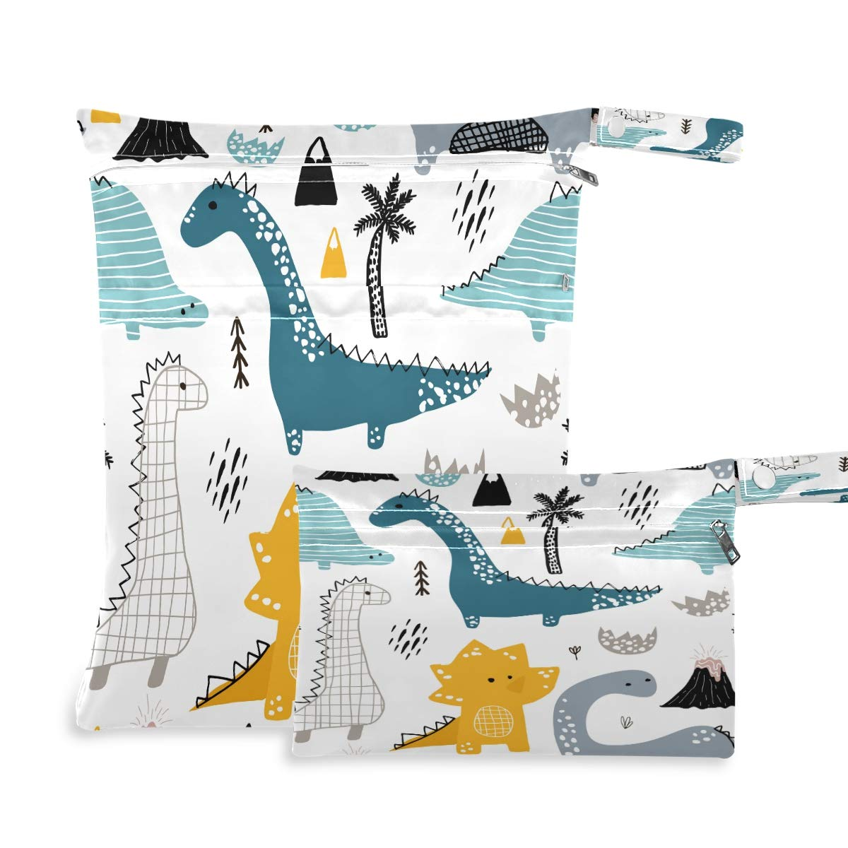 Ombra Waterproof Wet Dry Bag 2 Pack Cute Animal Cartoon Dinosaur Cloth Diaper Bag Organizer Pouch Set with Zipper Pocket Washable Wet Bag for Travel Hiking Swimsuit
