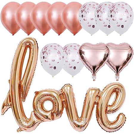 Luftballon Set Love Gold 13-teilig Herz Folienballon Geburtstag Deko Geburtstag