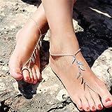 Jovono At02 - Tobillera para playa con borla y cadena para el pie para mujeres y niñas (1 unidad).
