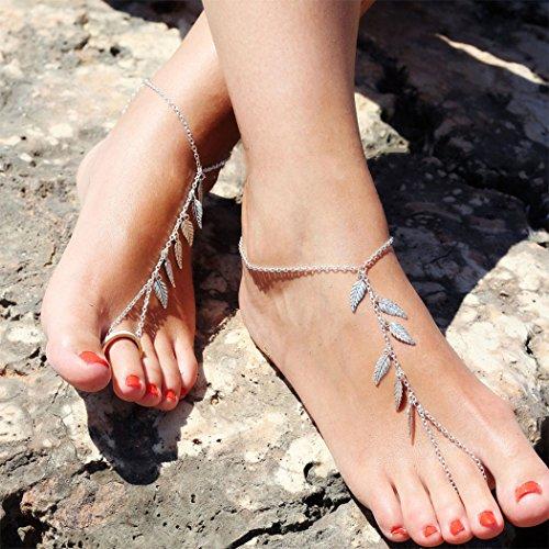 Clicca sull'immagine per la visualizzazione estesa Jovono caviglia braccialetto spiaggia calzature con lasciare nappa catena del piede per donne e ragazze AT02 (1pcs)