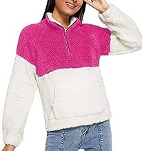 Elogoog Winter Women Faux Fleece Long Sleeve Outwear 1/4 Zip up Turtleneck Color Block Sweater Sweatshirt with Pockets
