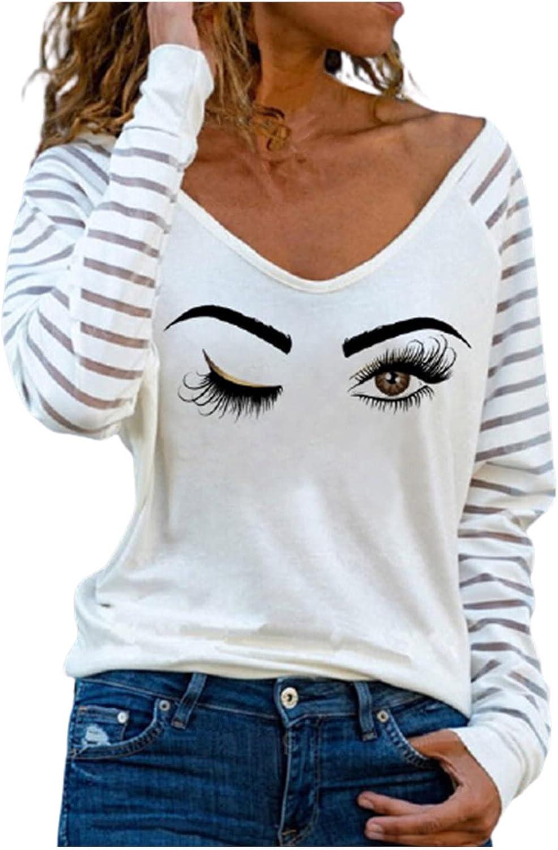 Womens Plus Size Tops Sweatshirt V Neck Elegant Casual Wink Eye Printing Tunic Basic Blouse Pullovers Tee Undershirts