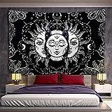 Blanco Negro Sol Luna Manta de pared Mandala Fondo Tela Tapiz Brujería Hippie Tapiz psicodélico A3 150X200CM