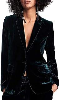 CORAFRITZ Blazer de terciopelo con botones para mujer, sexy, ajuste delgado, solapa, para oficina, traje de invierno, abri...