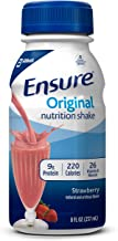 Ensure Original Nutrition Shake with 9 grams of protein, Meal Replacement Shakes, Strawberry, 8 fl oz (Pack of 16)