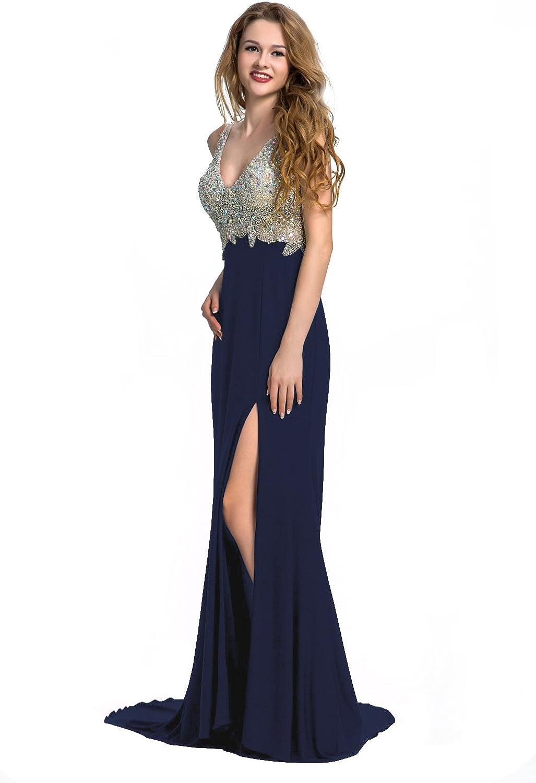Manfei Women's 2019 VNeck Crystal Beaded Mermaid Black Long Prom Dress Slit Side