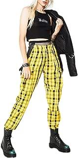 Macondoo Women's Sport Plaid Elastic Waist Jogging Trousers Overalls Pants