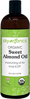 Sweet Almond Oil by Sky Organics 16oz Pure ColdPressed Organic Almond Oil Great As Baby Oil AntiAging Almond Oil Carrier O...