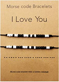 QianCraftKits I Love You Morse Code Bracelet Couples Matching Bracelets for Him and Her Boyfriend and Girlfriend Mother and Daughter Set of 2 Bracelets