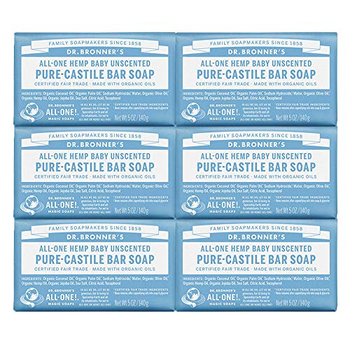Dr. Bronner Magic Soaps Pure-Kastilien Seife, All-One-Unscented Baby-Mild, 5-Unzen-Barren (Pack of 6)