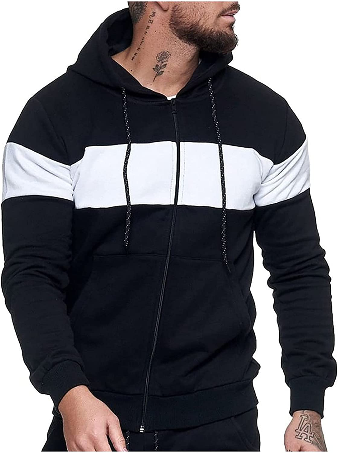 Men's Long Sleeve Sweater Color Block Splicing Drawstring Full Zipper Hooded Sports Tops Fashion Casual Blouse