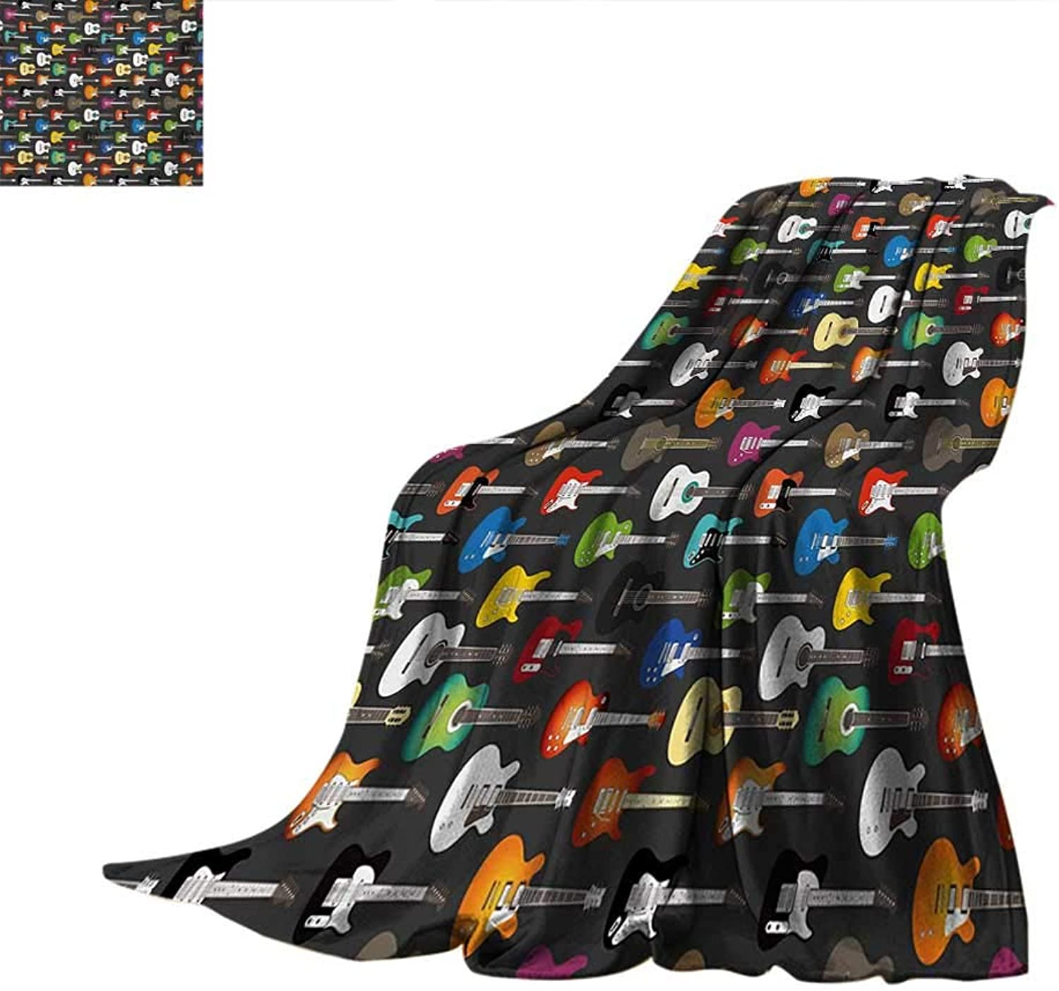 Guitar Weave Pattern Blanket Grunge Instruments Strings Creativity Writing Songs Digital Classic Acoustic Music Summer Quilt Comforter 60 x50  Multicolor