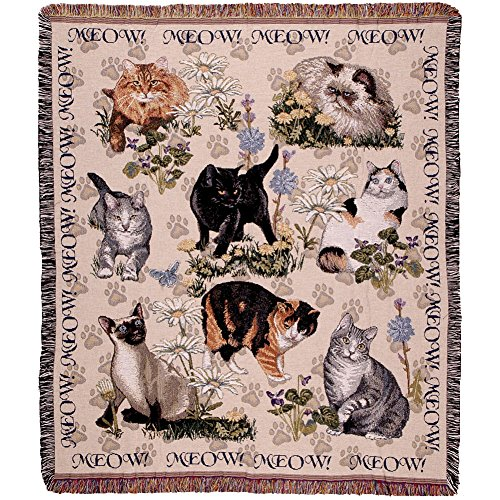 Simplemente casa Meow Mix Tapestry Throw