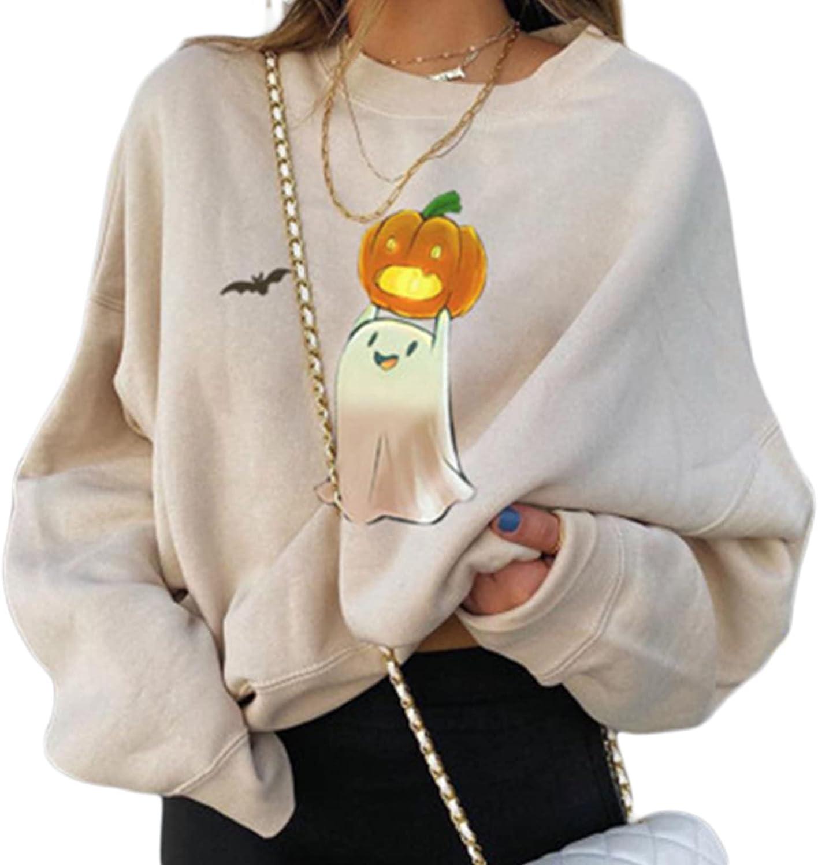 Halloween Sweatshirts for Women Pumpkin Print Sweater Bat Skull Long Sleeve Pullover Tops Lightweight Sweatshirts